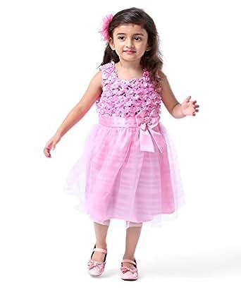 new designer baby pink softnet girls partywear frock