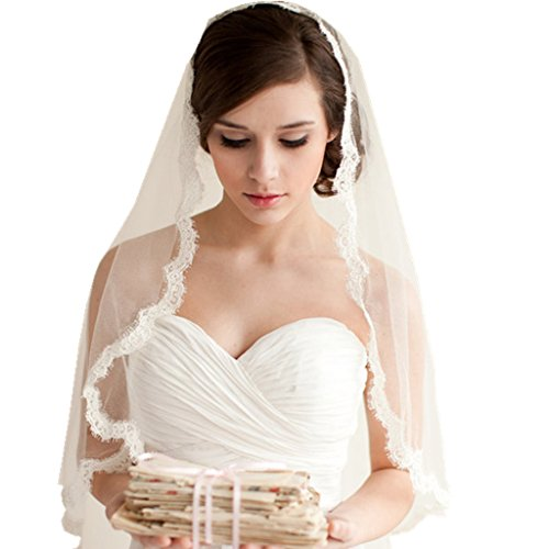 YUAKOU 1 layer Lace Edged Waist Length Bridal Veil with Comb Wedding Veils