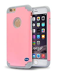 iPhone 6,6s Case, Vogue Shop 2in1 Hybrid Case Cover for iPhone6,6s (2015). Hard Cover, Printed Design Pc+ Silicone Hybrid High Impact Defender Case Combo Hard Soft Cases Covers (Pink+Grey)