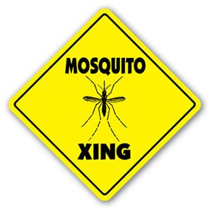 MOSQUITO CROSSING Sticker novelty gift insect entomology flies fly netting camping (Insect Netting For Auto Windows compare prices)