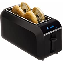 T-fal TL6802002 4-Slice Digital Toaster with Bagel Function, Black