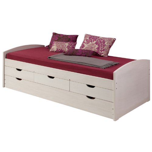 cadres de lit lit gigogne avec tiroir lit tiroirs julia pin lasur blanc. Black Bedroom Furniture Sets. Home Design Ideas