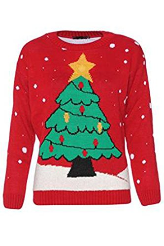 Fashionmark Women'S Led Christmas Tree Star Print Light Up Christmas Jumper - Red Color - Size 6-12 (Ml (10-12), Red)