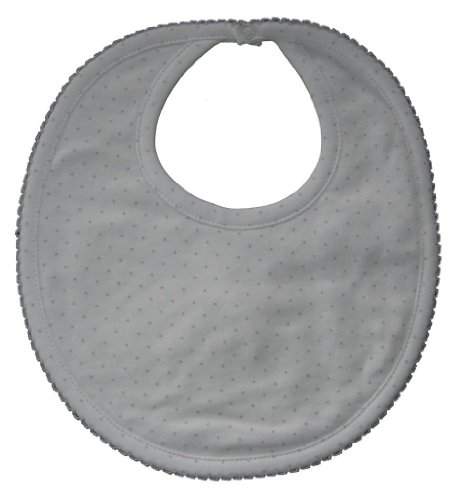 Kissy Kissy Baby Dots Bib-White With Silver Dots-One Size front-1052877