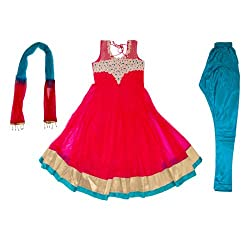 Pintoo Apparels Girls Red Traditional Salwar Set for 11-12 Years