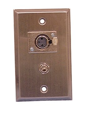 """Philmore Stainless Steel Wall Plate With (1) Xlr 3-Pin Female Microphone Connector And (1) 1/4"""" Stereo (Trs) Jack; 75-731"""