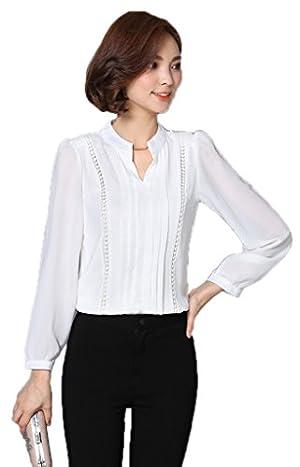 Toyobuy Women V-Neck Slim Fit Blouse Top Long Sleeve Chiffon Shirt White 2XL