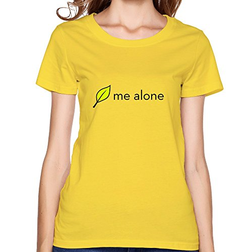 Shhy Women'S Leaf Me Alone T Shirt Small Yellow