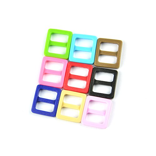 "Cheapest Prices! Blue ELF 180 PCS of 3/8"" (10mm) 9 Color (20 Each) Plastic Tri-glide Buckles Wi..."