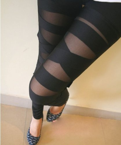Buy ECOSCO Women Sexy Stretch Cross Straps Mesh Inset Stripes Ankle Length Footless Legging Tregging...