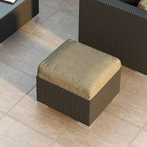 Urbana All-weather Wicker Outdoor Ottoman With Sunbrella Heather Beige 5476-0000 Cushions by Harmonia Living