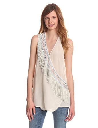 Plenty by Tracy Reese Women's Embroidered Surplice Blouse, Bone, Petite