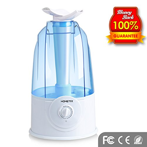 Hometek Umidificatore ad Ultrasuoni, Diffusore capiente 3L, Silenzioso con Spegnimento automatico e Rotazione di 360 gradi (Blu)