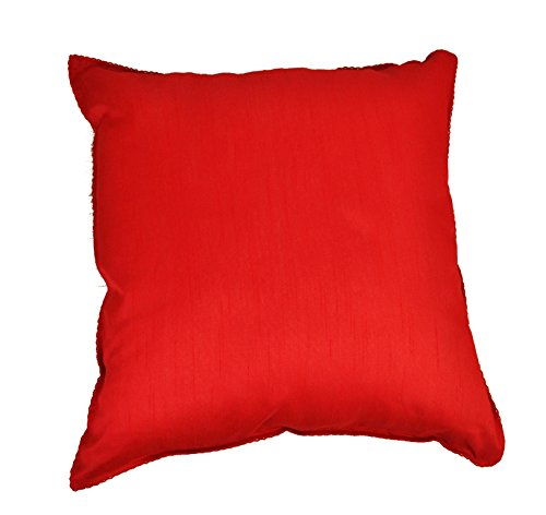 18x18 Inch Set Of 6 Poly Silk Cushions Pillow Cover Sofa Throw Cover Case (Red Pillow Cover)