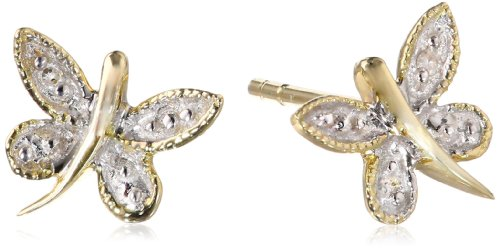 10K Yellow Gold Dragonfly Diamond Earrings (0.005 Cttw, I-J Color, I2-I3 Clarity)