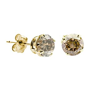 1/4 CT Champagne Diamond Stud Earrings 14k Yellow Gold (I1-I2 Clarity)