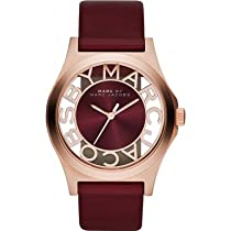 Marc by Marc Jacobs MBM1274 Mens Maroon Rose Gold Henry Skeleton Watch
