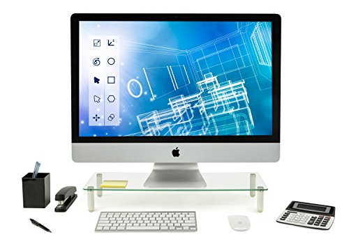 Mount-It! Glass Monitor Stand Laptop Stand, Ergonomic Desk Riser and Organizer, 22