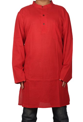 Indian Boho Casual Wear Cotton Yoga Red Mens Long Kurta Size-M