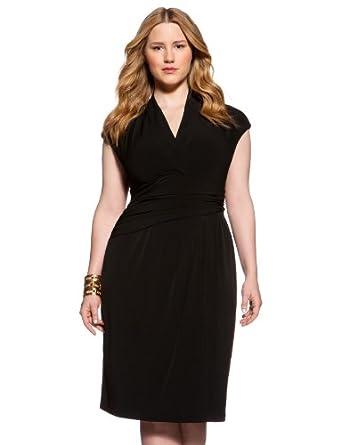 eloquii Cap Sleeve Wrap Dress Women's Plus Size Black 24W