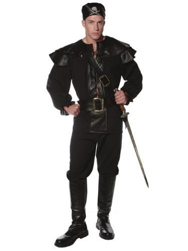 Mens Black Pirate Costume Defender Renaissance Style Deluxe Theatre Costumes