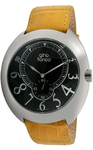 gino franco Men's 901YL Round Stainless Steel Genuine Leather Strap Watch