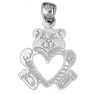 Clevereve's 14K White Gold Pendant Teddy Bear with Heart 1.1 - Gram(s)