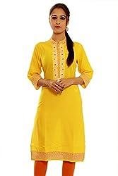 Beautiful Cotton Traditional Womens Kurta (XL, Yellow)