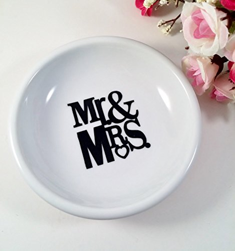Mr & Mrs Mini Round Ring Dish, White Porcelain Couples Trinket Dish, Wedding Gifts