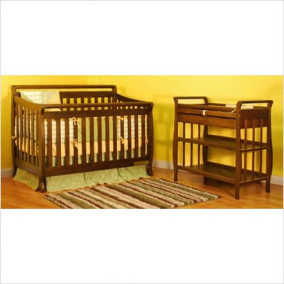 Athena Amy Convertible Crib with Toddler Rail and Nadia Changing Table in Mocha