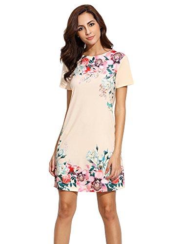 Floerns Women's Floral Print Short Sleeve Casual Top Shirt Dress Apricot M