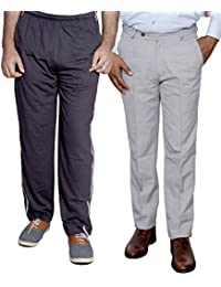Indistar Mens Formal Trousers With Men's Premium Cotton Lower (Length Size -38) With 1 Zipper Pocket And 1 Open... - B01GEIN9KO