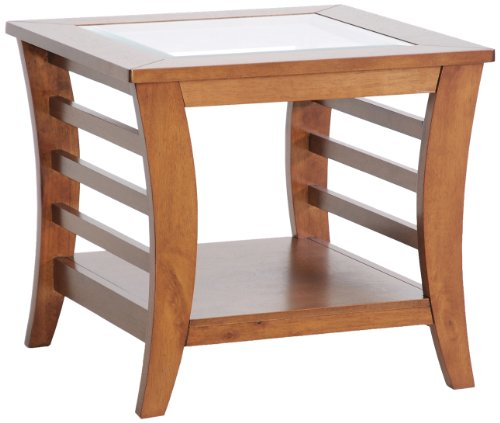 Cheap Baxton Studio Allison Honey Brown Wood Modern End Table with Glass Inlay (CHW35898-40)