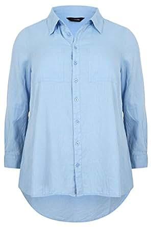 Plus Size Womens Chambray Cotton Boyfriend Button Up Shirt