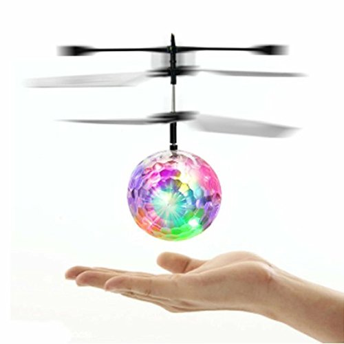 Mini Flying RC Ball, SZJJX Crystal Hand Suspension Helicopter Aircraft Infrared Sensing Induction Disco Lighting Bird Toy Colorful LED Flashing (Air Suspension Ball Toy compare prices)