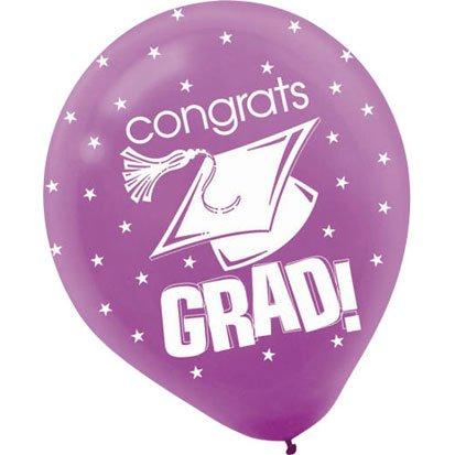Congrats Grad Purple Latex Balloons 20ct - 1