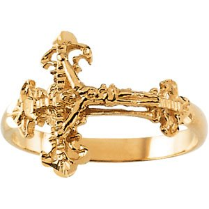 Genuine IceCarats Designer Jewelry Gift 14K Yellow Gold Ladies Crucifix Ring. Ladies Crucifix Ring In 14K Yellow Gold Size 7