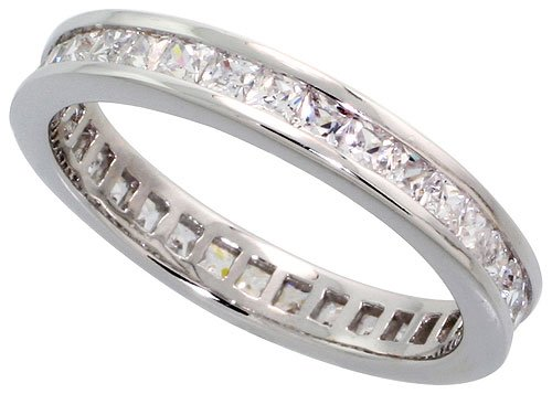 Sterling Silver Cubic Zirconia Eternity Ring Rhodium finished w/ 2mm Princess Cut 1/8 inch (3.5 mm) wide, size 9