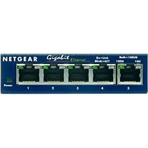 Netgear Prosafeport Gigabit Switch on Netgear Gs105 Prosafe 5 Port Gigabit Ethernet Desktop Switch   10 100
