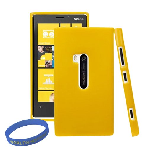 Worldshopping Candy Color Yellow Glossy Skin Soft TPU Gel Case Cover For Nokia Lumia 920 + Free Accessory