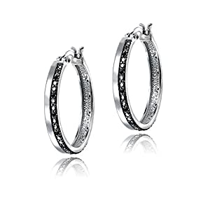Silver Tone 1/4ct Black Diamond Hoop Earrings