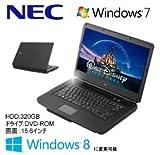 NEC Windows7 搭載 15.6インチ ノートパソコン Cel 2GB 320GB PC Windows8 ダウングレード PC-VJ19EXXDA95HABZZY