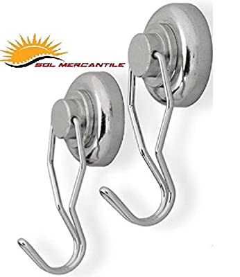 Sol Mercantile Swivel Magnet Hook, Ultra Heavy Duty Strong Neodymium Swivel Magnetic Hook(2 Pack)