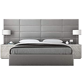 """VANT Upholstered Headboards - Accent Wall Panels - Packs of 4 - Plush Velvet Platinum Gray - 39"""" Wide x 11.5"""" Height - Easy to Install Twin - King Size Headboard"""