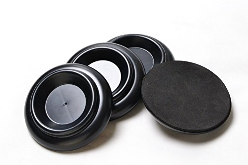 Upright Piano Caster Furniture Round Wheel Cups Gripper Set Load Bearing ABS for Upright Piano [4Pack](4.0x3.0x2.5 inch)(black) (Upright Piano Caster Cups compare prices)