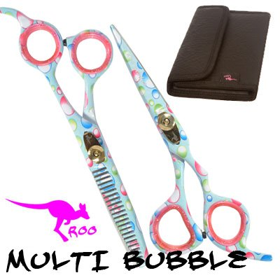 Roo Multi Bubble Motif 5.5 Inch Hairdressing Scissor Set (Liquorice Wallet)