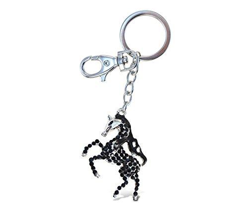 Puzzled Black Horse Sparkling Charm Elegant Keychain - 1