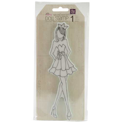 Prima Marketing Mixed Media Strapless Dress Doll Cling Rubber Stamp front-83607