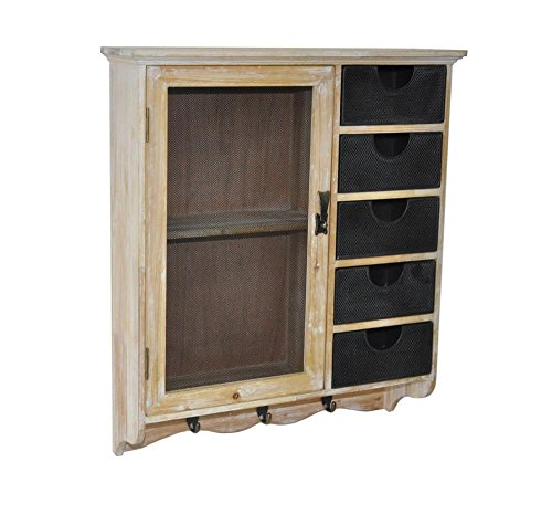 Cheungs Shabby White Wooden Wall Storage Cabinet With 1 Doors, 1 Shelf, 5 Drawers And 3 Hooks