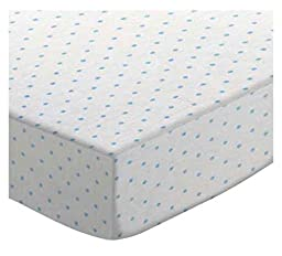 SheetWorld Fitted Sheet (Fits BabyBjorn Travel Crib Light) - Blue Pindot Jersey Knit - Made In USA